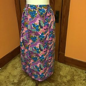 Vintage 70s Hawaiian flowers psychedelic skirt